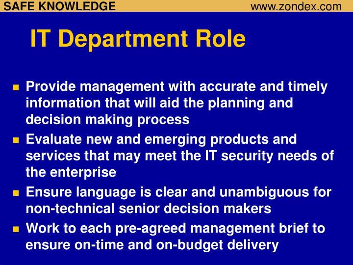 IT Department Role