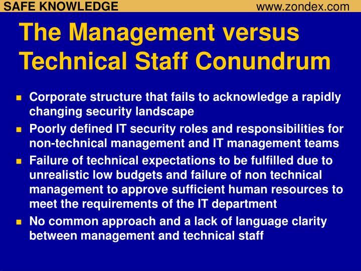 The Management versus Technical Staff Conundrum