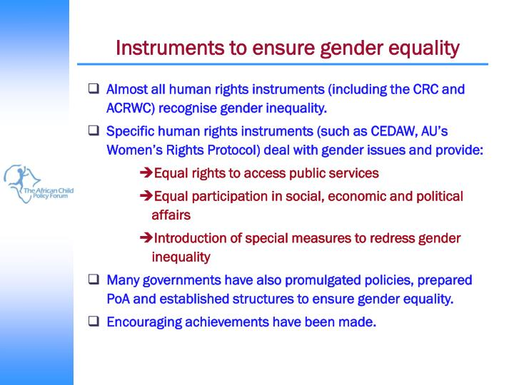 Instruments to ensure gender equality