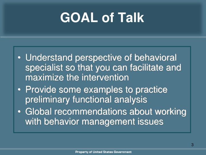 Goal of talk
