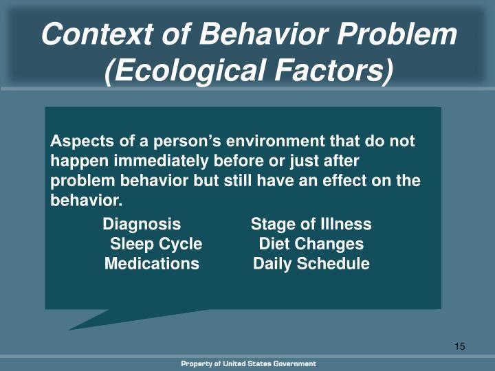 Context of Behavior Problem