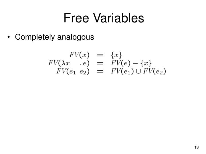 Free Variables