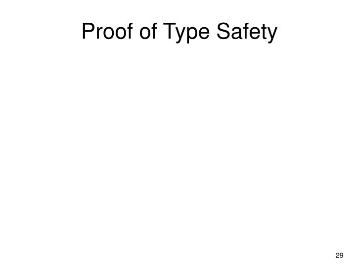 Proof of Type Safety