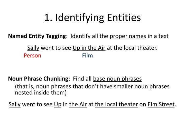 1. Identifying Entities