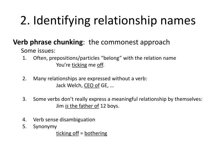 2. Identifying relationship names