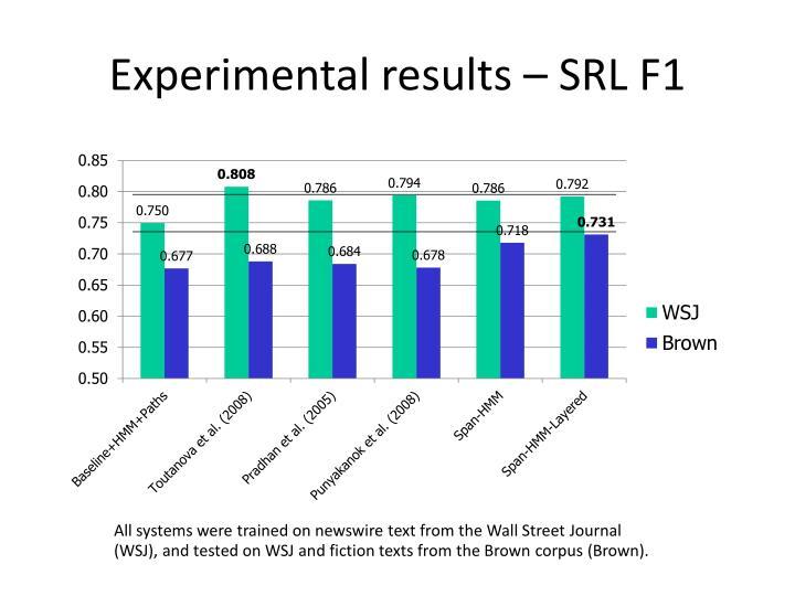 Experimental results – SRL F1