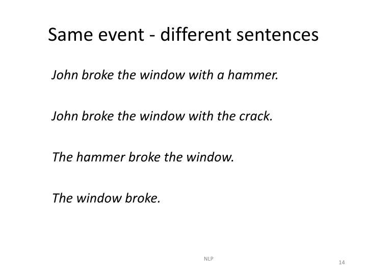 Same event - different sentences