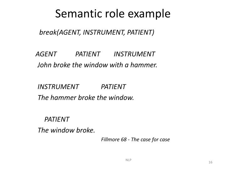 Semantic role example