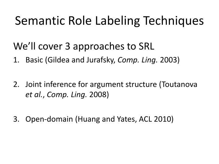 Semantic Role Labeling Techniques