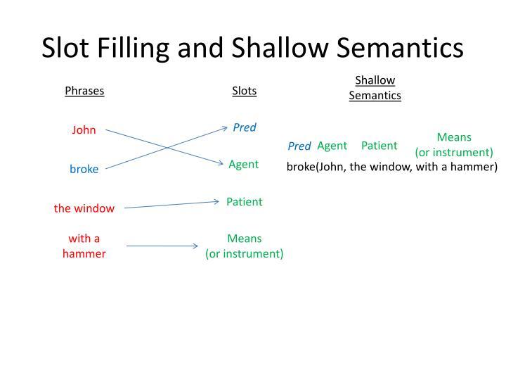 Slot Filling and Shallow Semantics