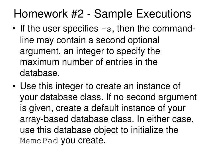 Homework #2 - Sample Executions