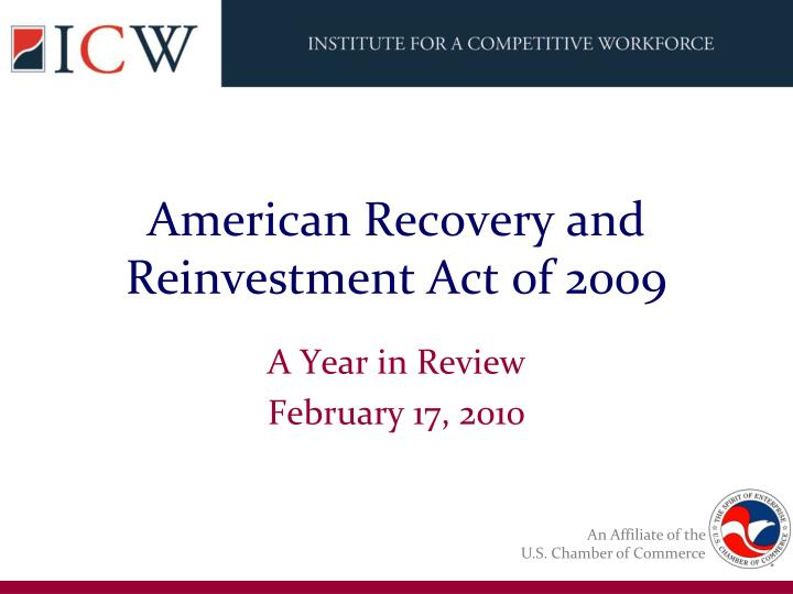 American recovery and reinvestment act 0f 2009
