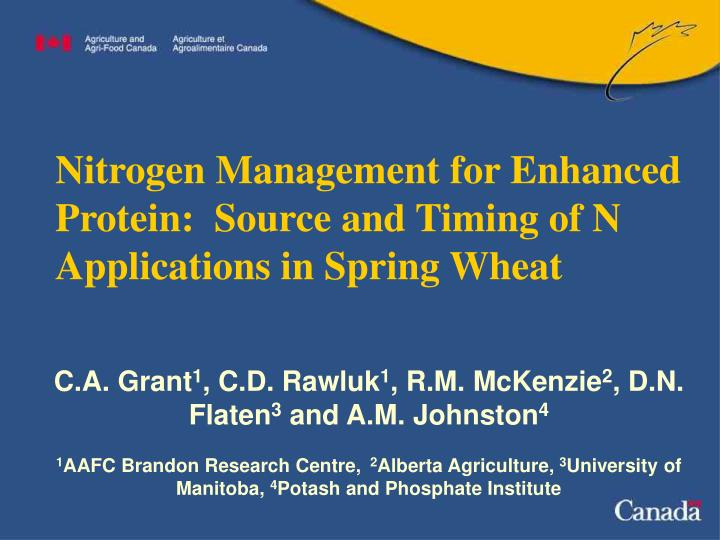 Nitrogen management for enhanced protein source and timing of n applications in spring wheat