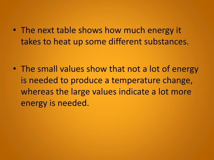 The next table shows how much energy it takes to heat up some different substances.