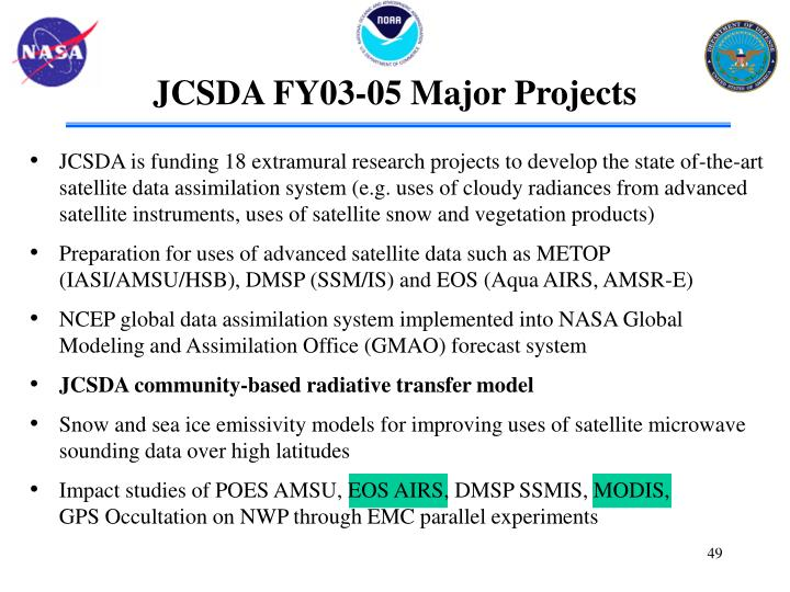 JCSDA FY03-05 Major Projects