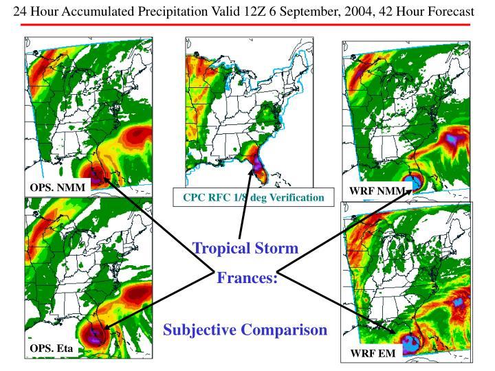 24 Hour Accumulated Precipitation Valid 12Z 6 September, 2004, 42 Hour Forecast