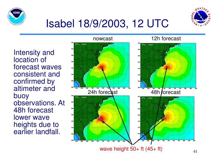 Isabel 18/9/2003, 12 UTC