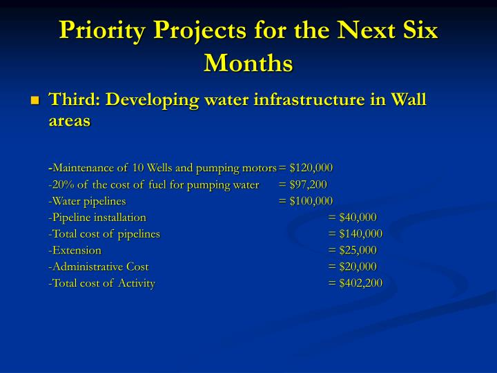 Priority Projects for the Next Six Months