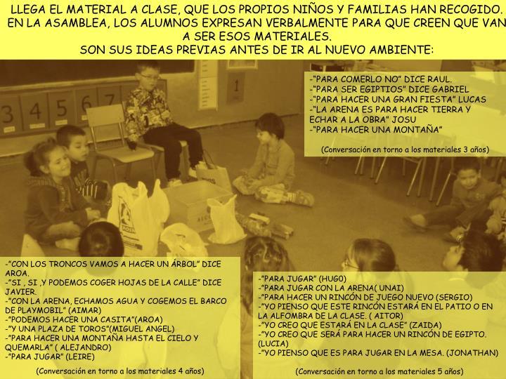LLEGA EL MATERIAL A CLASE, QUE LOS PROPIOS NIÑOS Y FAMILIAS HAN RECOGIDO.