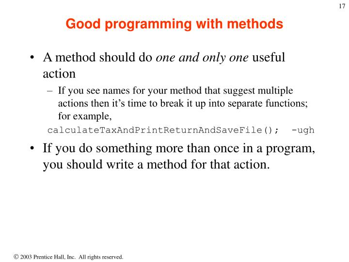 Good programming with methods