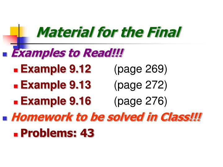 Material for the Final