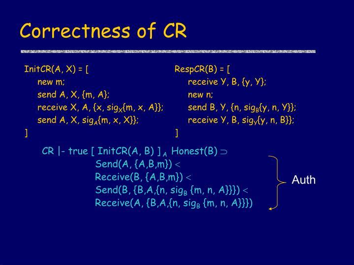 Correctness of CR