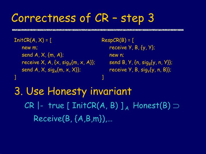 Correctness of CR – step 3