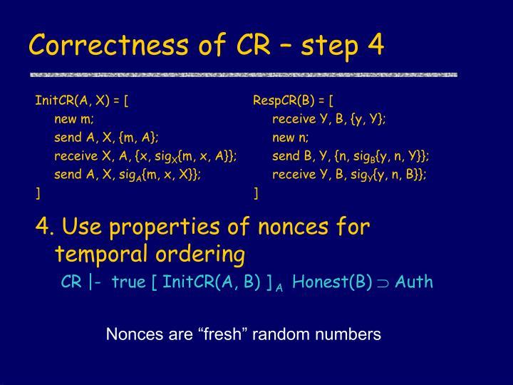 Correctness of CR – step 4
