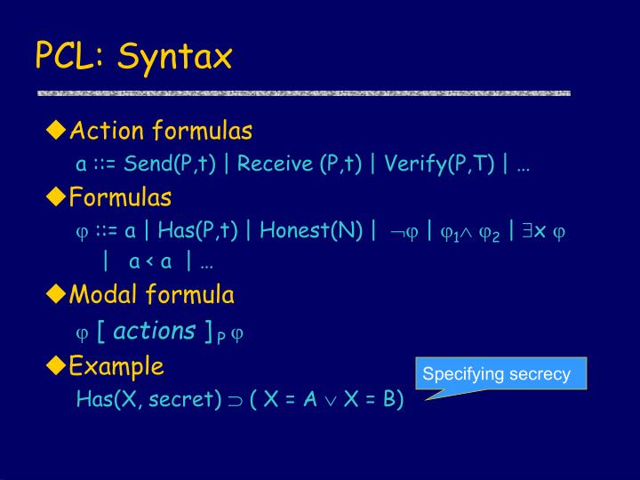 PCL: Syntax