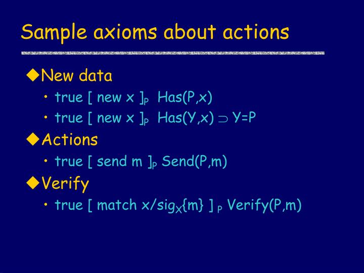 Sample axioms about actions