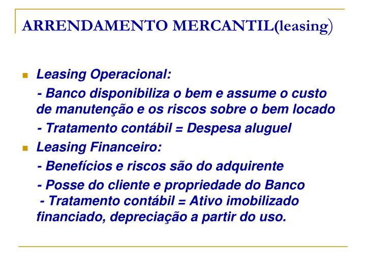 ARRENDAMENTO MERCANTIL(leasing