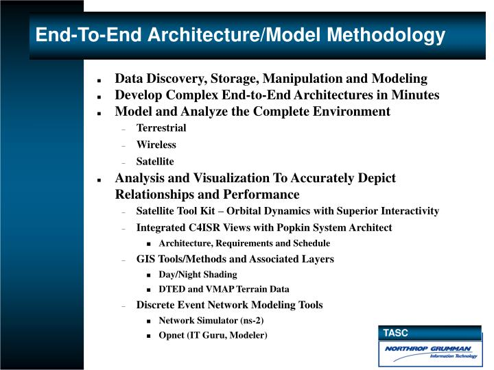 End to end architecture model methodology