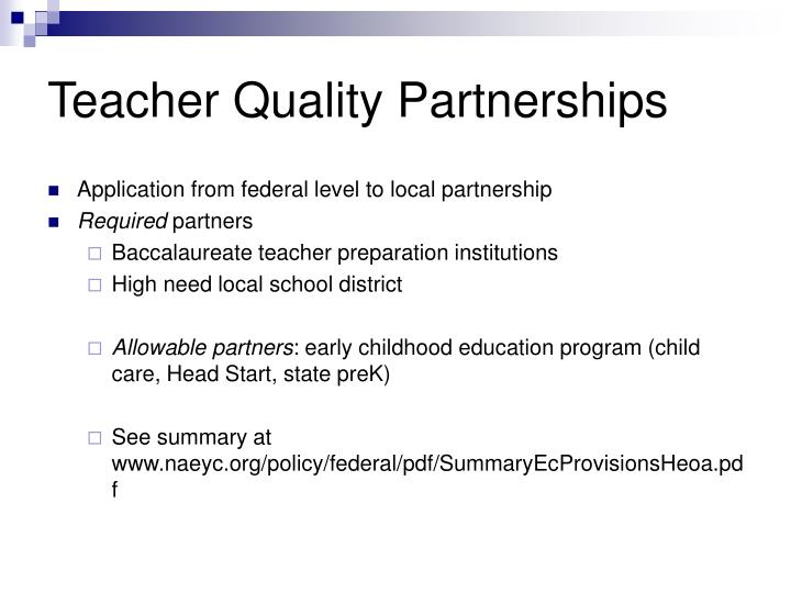 Teacher Quality Partnerships