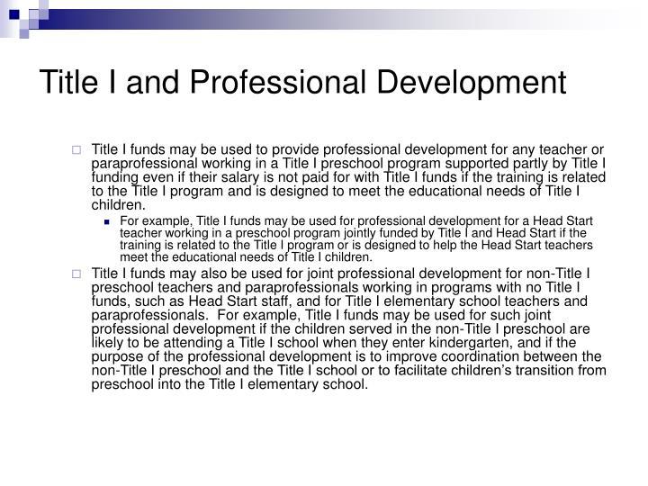 Title I and Professional Development