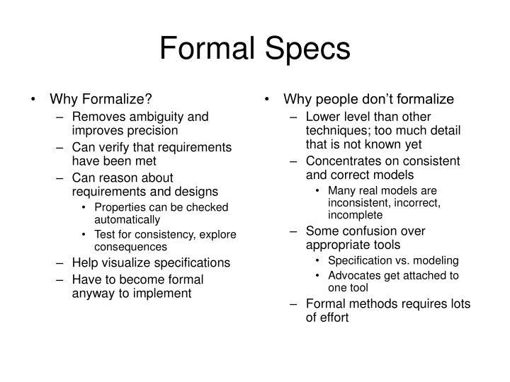Formal specs