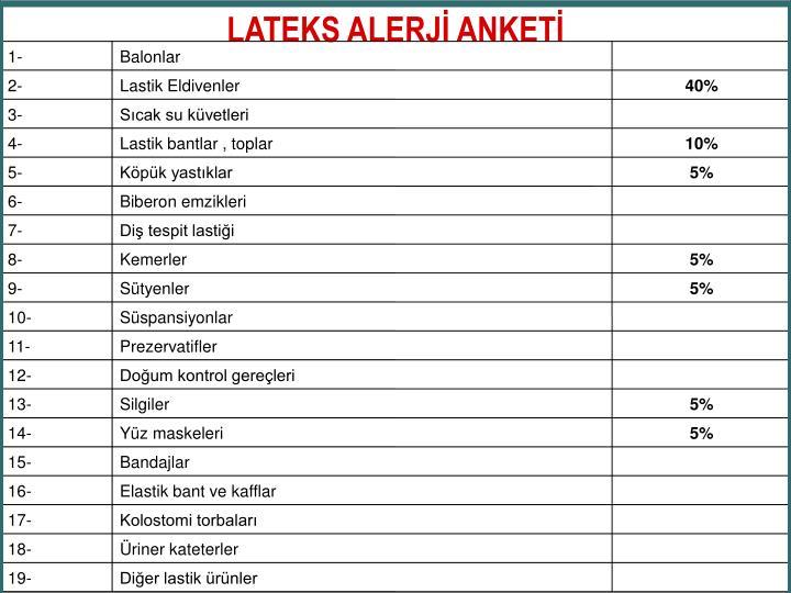 LATEKS ALERJİ ANKETİ