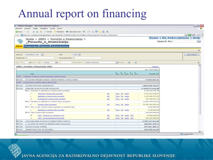 Annual report on financing