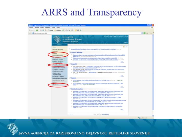 ARRS and Transparency
