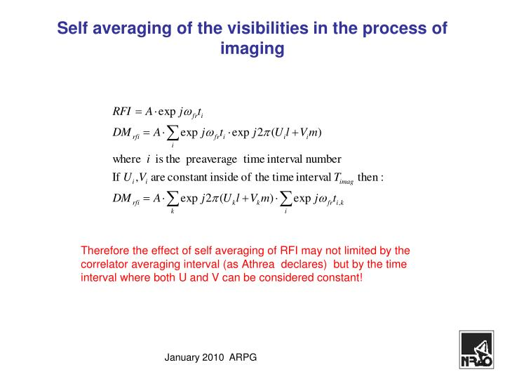Self averaging of the visibilities in the process of imaging