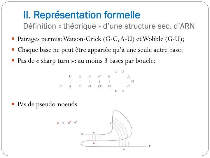 II. Représentation formelle