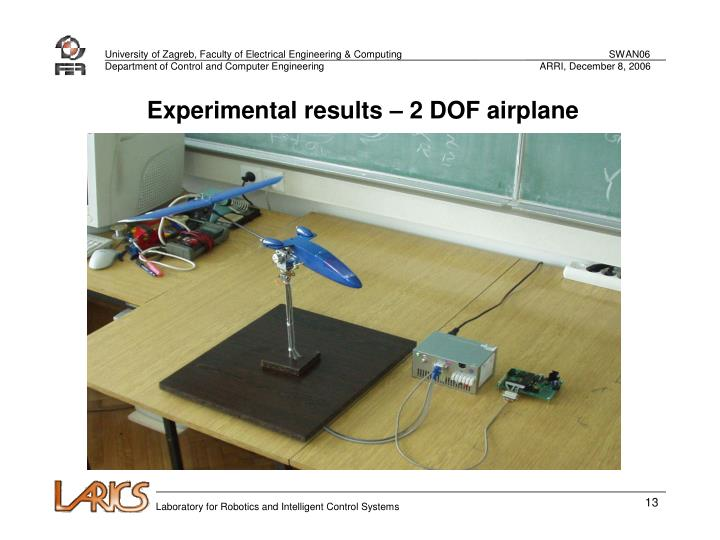 Experimental results – 2 DOF airplane