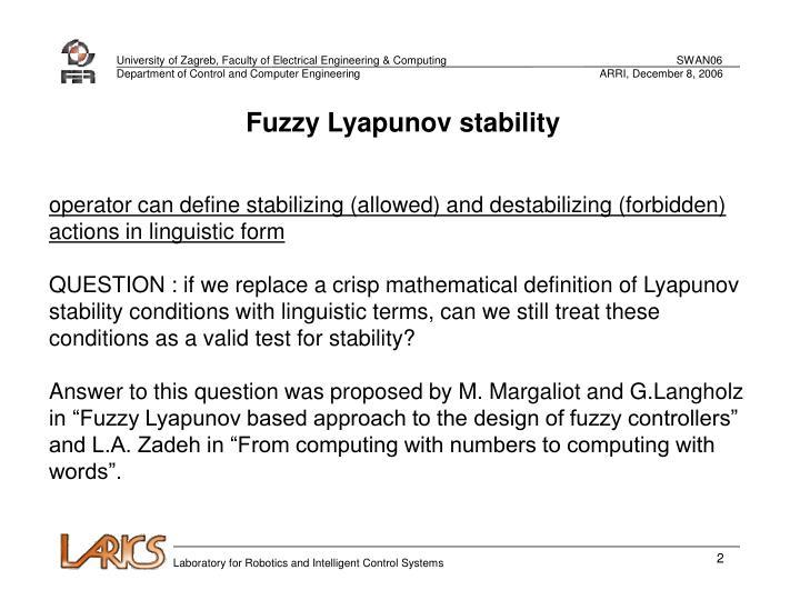 Fuzzy Lyapunov stability