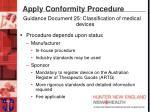 apply conformity procedure