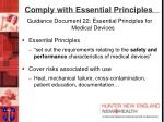 comply with essential principles