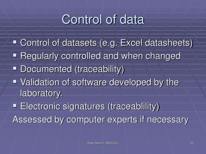Control of data