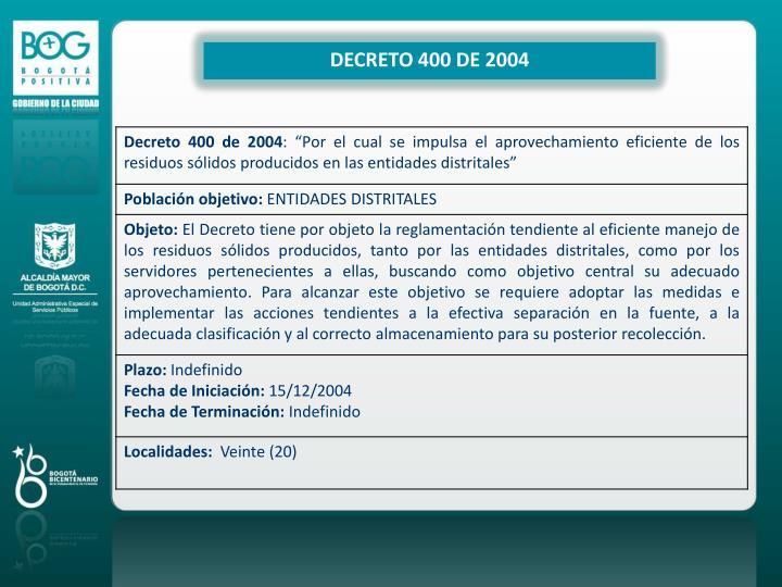 DECRETO 400 DE 2004