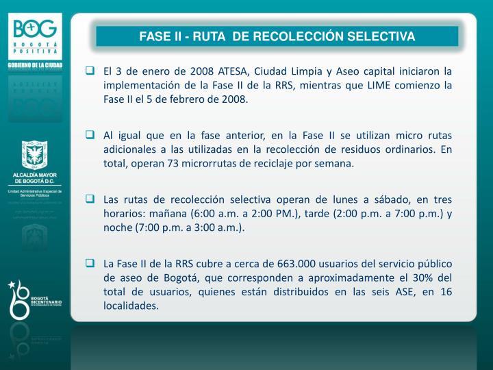 FASE II - RUTA  DE RECOLECCIÓN SELECTIVA