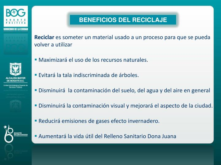 BENEFICIOS DEL RECICLAJE