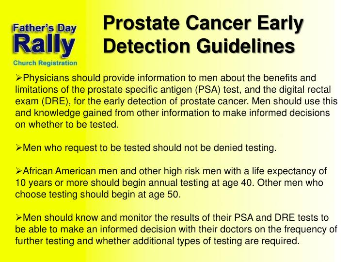 Prostate Cancer Early Detection Guidelines