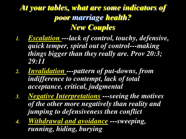 At your tables, what are some indicators of poor